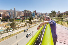 La Paz city man brige cityscape panorama view. Stock Photography