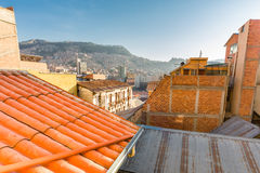 La Paz cityscape city window view buildings roof, Bolivia. Royalty Free Stock Images