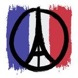 La paz dibujada a pulso del bosquejo para el ejemplo de París de ruega las manos Imagen de archivo libre de regalías