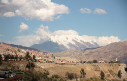 La Paz and Illimani mountain peak in Bolivia Stock Photography