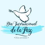 La Paz, internationell dag för diameter-internacionalde av fredspanjoröversättningen vektor illustrationer