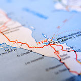 La Paz map. Closeup of map showing La Paz and surrounding area, Mexico royalty free stock photos