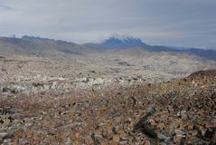 La Paz and Mt. Illimani Royalty Free Stock Photography