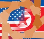 La paz norcoreana de los E.E.U.U. da el ejemplo de las banderas 3d ilustración del vector