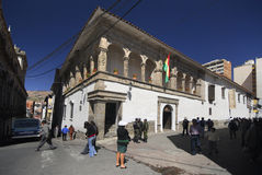 La Paz, Plaza de la Union, Bolivia, South America. Pedestrian area, museum in La Paz, Plaza de la Union, Bolivia, South America Stock Images