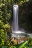 La Paz waterfalls. In the rainforest, a view from above of one of the thundering waterfalls and viewing platforms at the La Paz Waterfall Gardens in Costa Rica royalty free stock image