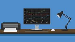 La PC comercial en línea del ordenador del concepto maneja el gráfico y el informe común Fotos de archivo libres de regalías