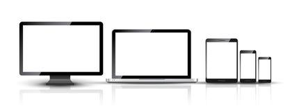 La PC del monitor de computadora, del smartphone, del ordenador portátil y de la tableta diseña Sistema digital elegante del disp ilustración del vector