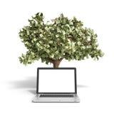 La PC vacía negra de la pantalla con el árbol del dinero en el fondo blanco 3d ren Imagen de archivo