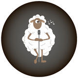 La pecora bianca canta le canzoni Fotografia Stock