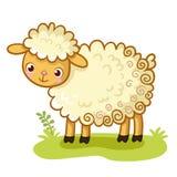 La pecora riccia sta su una radura royalty illustrazione gratis