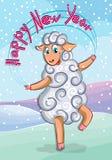 La pecora sveglia si rallegra durante il nuovo anno Fotografie Stock