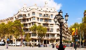 La Pedrera在巴塞罗那,卡塔龙尼亚 免版税库存照片