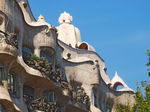 La Pedrera屋顶上面。巴塞罗那 免版税库存照片