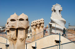 La Pedrera at Barcelona was designed by Antoni Gaudi Stock Image