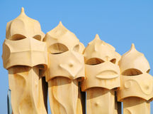 La Pedrera Chimneys Royalty Free Stock Photography