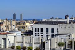 La Pedrera Gaudi`s house rooftop view of Barcelone royalty free stock images