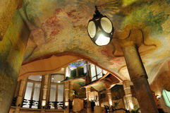 La Pedrera interior. Bright evening interior of famous Barcelona landmark - Antonio Gaudi's work Casa Milo (or La Pedrera) building stock photography