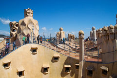 La Pedrera roof in Barcelona, Spain Stock Image
