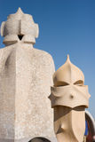 La Pedrera rooftop chimneys Royalty Free Stock Images