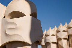 La Pedrera rooftop chimneys Stock Photography