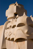 La Pedrera rooftop chimneys Royalty Free Stock Photos