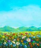 La peinture à l'huile blanche, gerbera rouge et jaune de marguerite fleurit illustration de vecteur