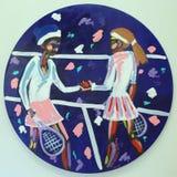 La peinture acrylique du ` s de Serena et de Venus Williams par l'artiste Bradley Theodore a présenté chez Luis Armstrong Stadium Image stock