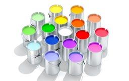 La peinture argentée Buckets - roue de couleur - le rendu 3D Photos stock