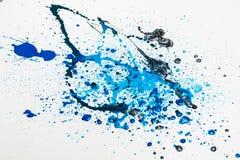 La peinture bleue éclabousse   Image libre de droits