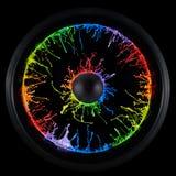 La peinture circulaire ?clabousse produit d'un haut-parleur image stock