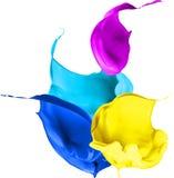 La peinture colorée éclabousse d'isolement sur le fond blanc Photos libres de droits