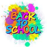 La peinture colorée éclabousse de l'emblème de nouveau à l'école pour l'enfant illustration libre de droits