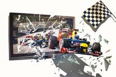 la peinture de mur 3D des voitures de course a conduit hors de la télévision sur le mur illustration de vecteur
