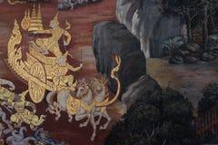 La peinture de ramayana dans le temple public en Thaïlande Images libres de droits