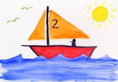La peinture des enfants - dessin-modèle - éducation Photo stock