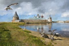 La peinture des mouettes, miaule, monastère de Solovki Photographie stock