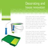 La peinture des outils pour la peinture intérieure fonctionne - le rouleau, la brosse et le seau de peinture Images stock