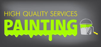 La peinture entretient le logo Peignez l'égoutture colorée sur le fond gris Un seau de peinture et d'un rouleau pour la peinture illustration stock