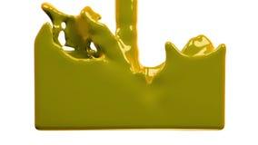La peinture jaune remplit l'écran, d'isolement sur PLEIN HD blanc de canal alpha banque de vidéos