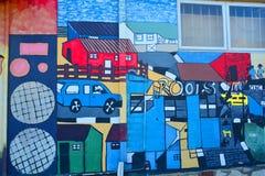 La peinture murale raconte l'histoire de Swakopmund Images libres de droits