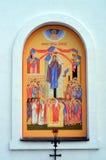 La peinture murale sur le mur de St Elijah Church dans Vyb Photographie stock libre de droits