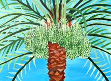 La peinture originale du vert unripen des dates, un art d'enfant Image stock