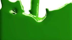 La peinture verte remplit l'écran, d'isolement sur PLEIN HD blanc de canal alpha banque de vidéos