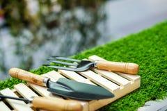 La pelle et la fourchette noires ont placé sur la boîte à outils en bois avec l'herbe de champ Image stock