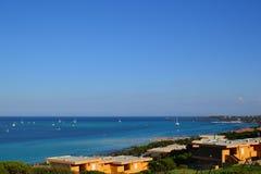 La Pelosa海滩在撒丁岛,意大利 免版税图库摄影