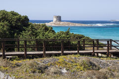 La Pelosa beach on a cloudy day Sardinia. Summer 2016 La Pelosa beach on a cloudy day Sardinia Royalty Free Stock Images