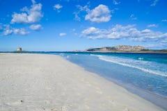 La Pelosa beach under a cloudy sky. Shot in Sardinia, Italy Royalty Free Stock Photography