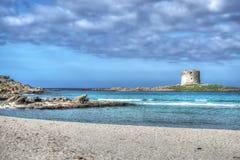 La Pelosa beach under a dramatic sky. Shot in Stintino, Italy Royalty Free Stock Photos