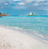 La Pelosa and its tower. La Pelosa beach with its famous Aragonese tower Stock Photography